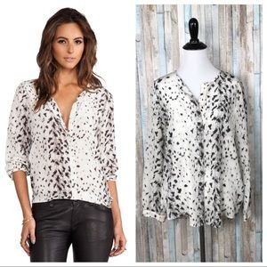 Joie S Snow Leopard 100% Silk Purine Blouse Top